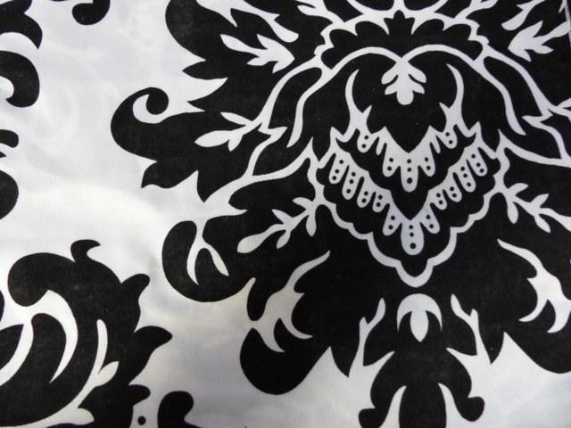 12inch x 108inch Black on White Taffeta Damask