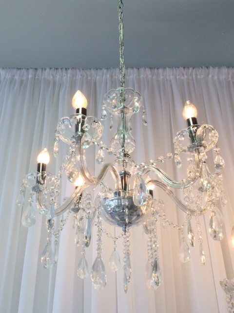 6 Lite Crystal Chandelier