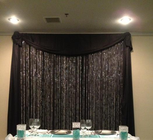 Beaded Backdrop with Black Drape