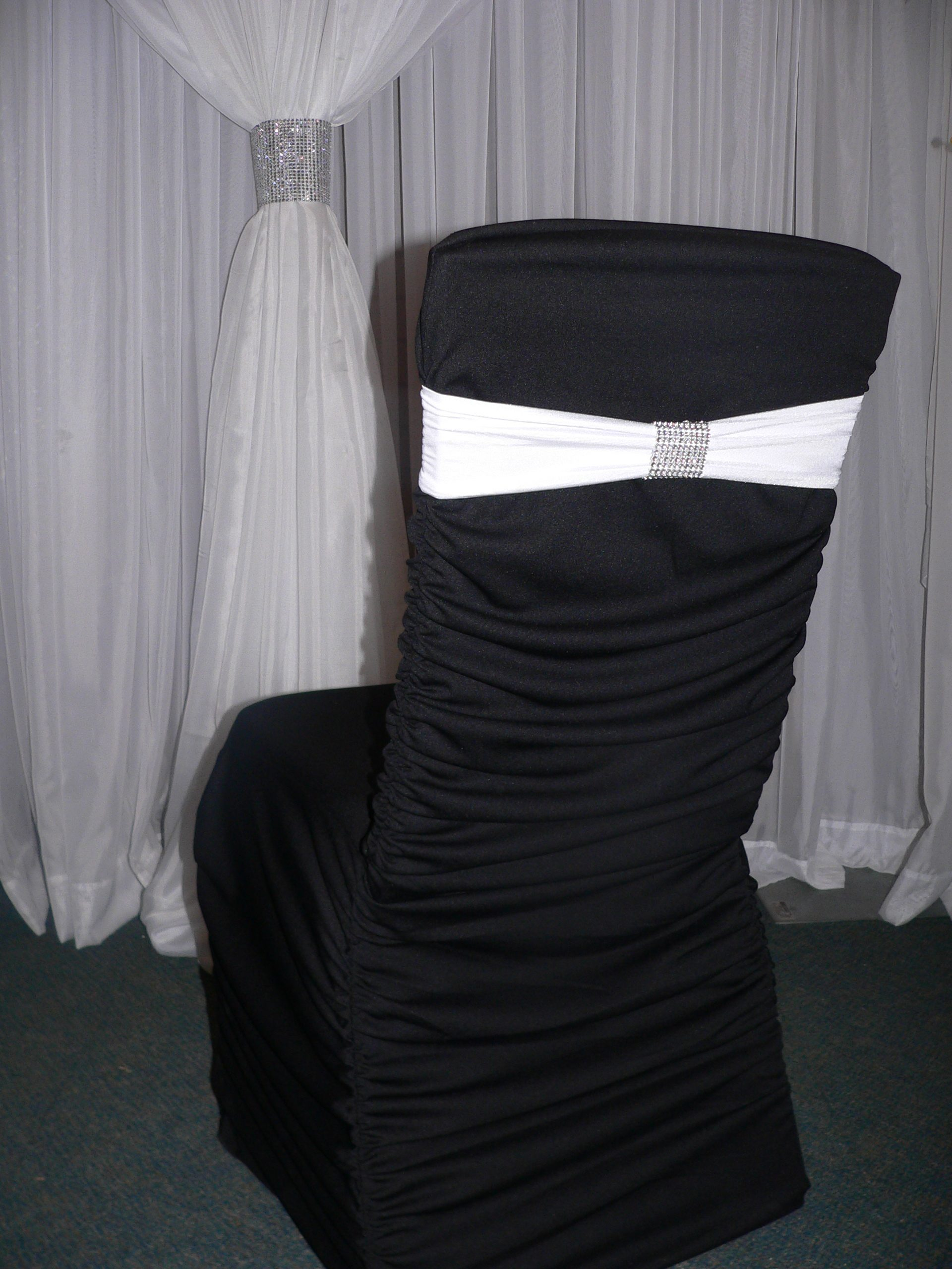 Black Rouche Back Chair Cover