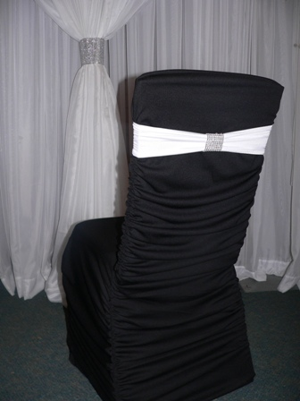 Black_Chair_Cover_with_White_Band_and_Silver_Bling_Wrap