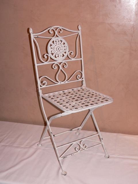 Distressed White Iron Folding Chair