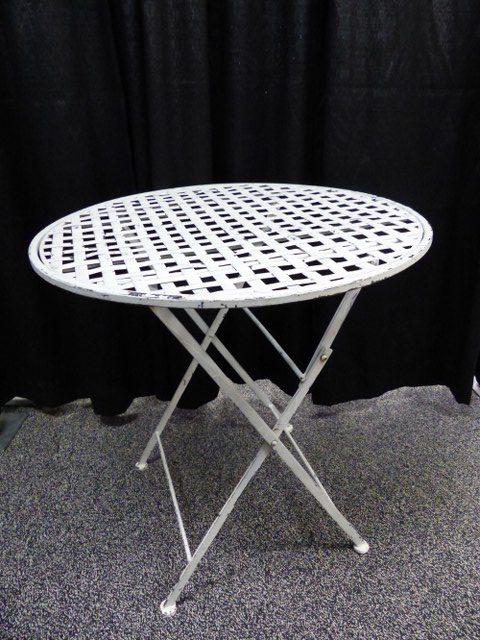 Distressed White Iron Table