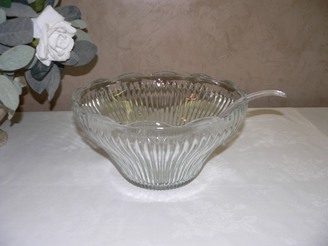 Glass Punch Bowl with Laddle