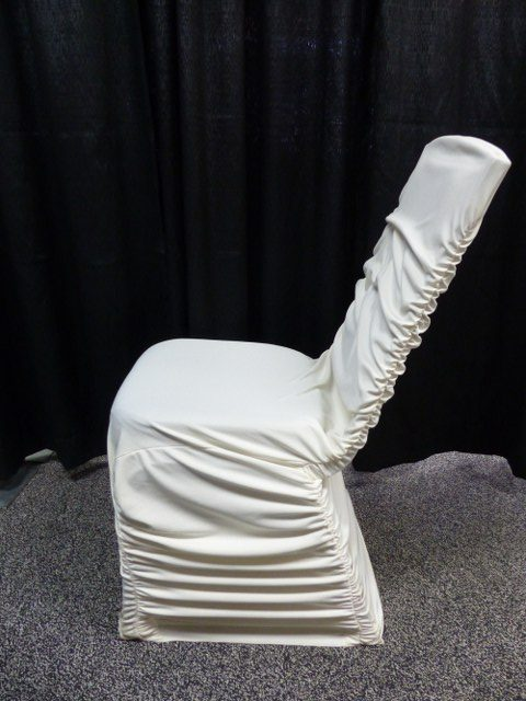 Ivory Rouche Back Chair Cover