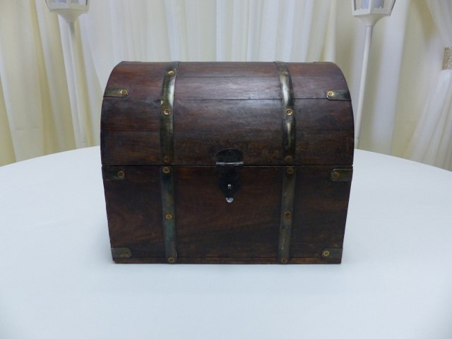 Large Brown Wood Chest Card Holder 13inch