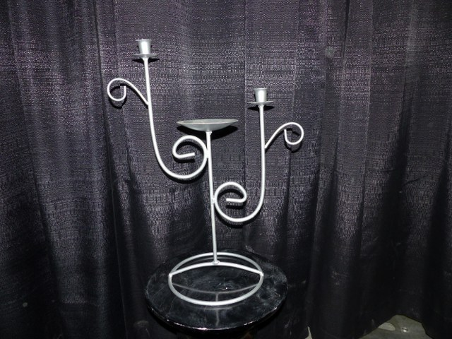 Silver Iron Romantic Unity Candle Holder
