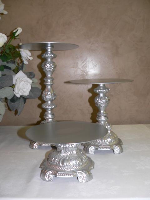 Silver Ornate Cake Pedestals