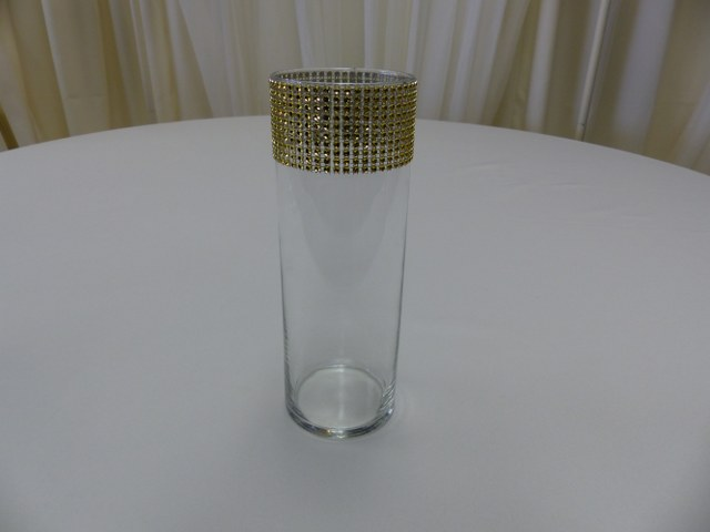 10inch Cylinder Vase with Gold Bling