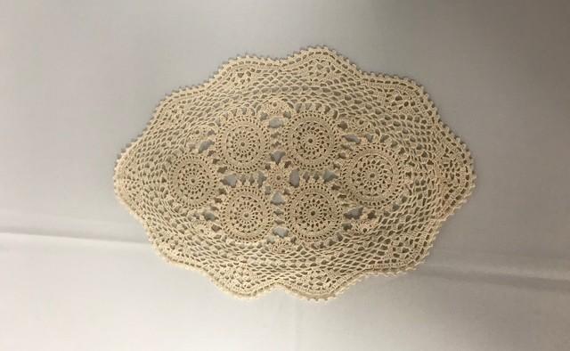 10inch x 14inch Oval Ecru Crochet Doilie