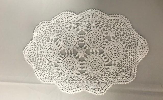 10inch x 14inch Oval White Crochet Doilie