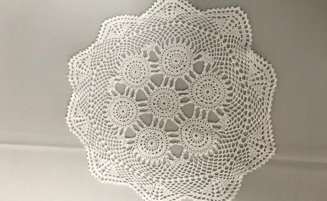 14inch Round White Crochet Doilie
