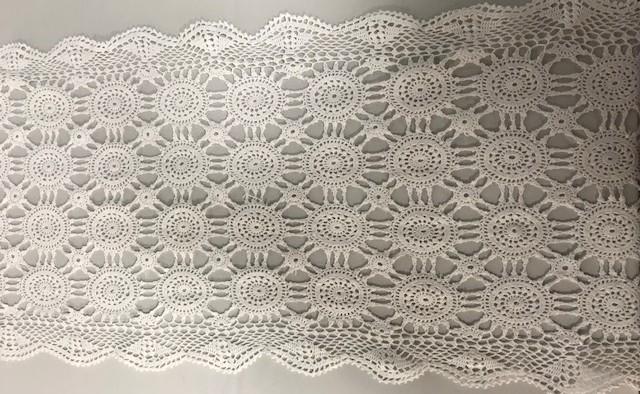 16inch x 72inch Oval White Crochet Runner