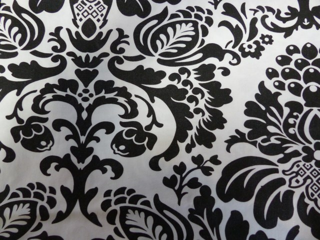 24inch x 84inch Black on White Cotton Damask