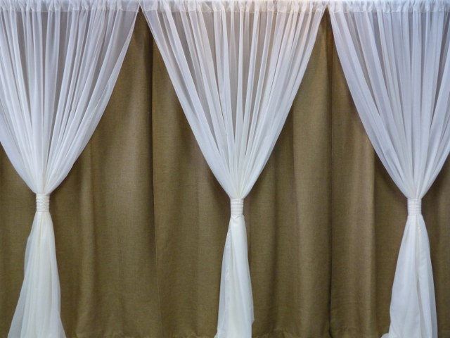 Burlap-Ivory Voile Backdrop with Pearl Wraps