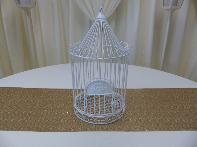White Iron Birdcage 18inch