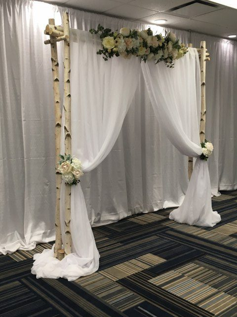Birch Arch with Florals and Draping