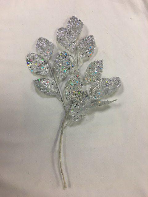 Artificial Apple Leag Stem, Silver Glitter