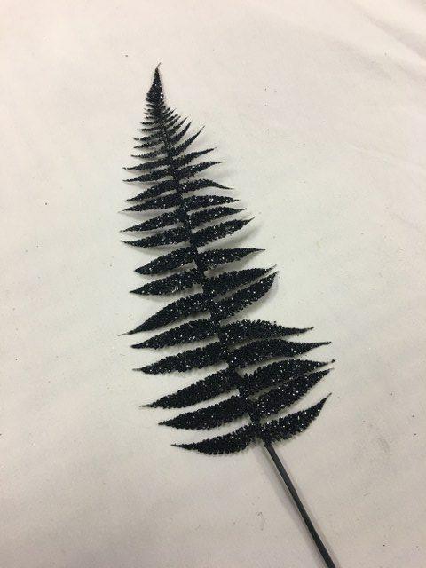 Artificial Fern Leaf Stem, Black Glitter