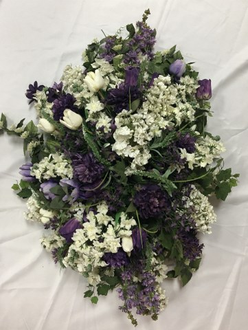 Artificial Mixed Purple Floral Casket Spray_361x480