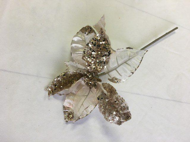 Artificial Poinsettia, Ivory w Gold Glitter, 28inch Stem_640x480