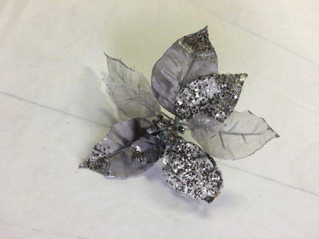 Artificial Poinsettia, Silver w Pewter Glitter,_640x480