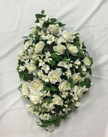Artificial White Rose Casket Spray_378x480