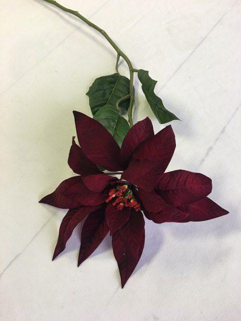 Artifiical Poinsettia, Burgundy, 23inch Stem_640x480