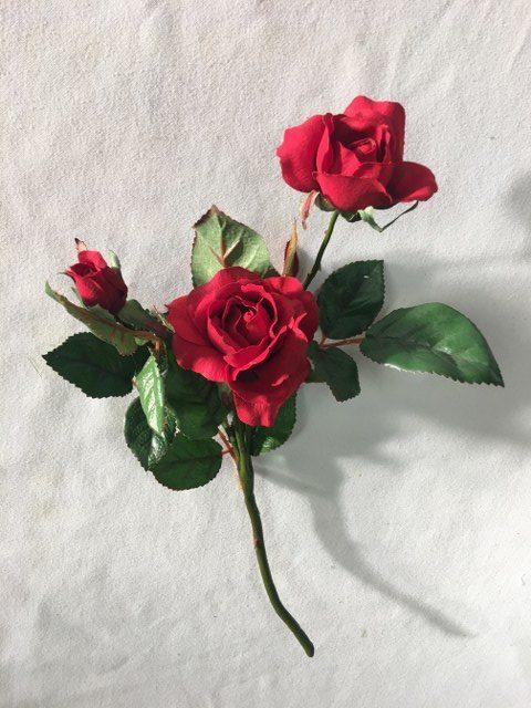 Artifiical Mini Blown Rose, Red_640x480