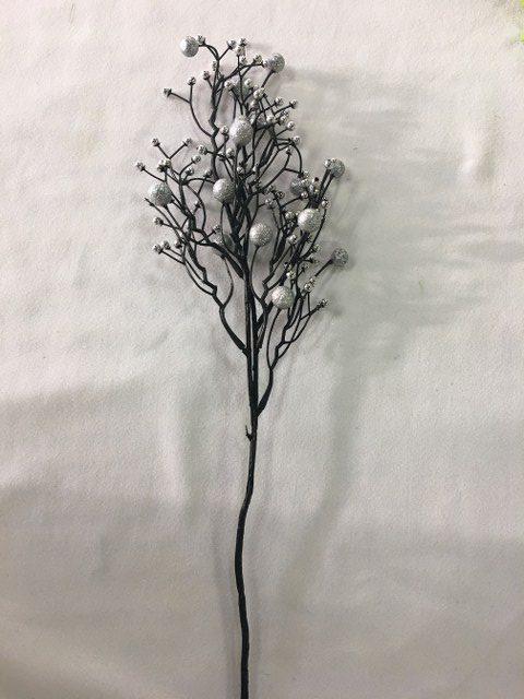 Glittered Ball Branch, Silver_640x480